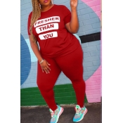 lovely Street Letter Print Red Plus Size Two-piece