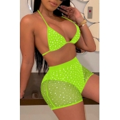 lovely Hot Drilling Decorative Green Two-piece Swimsuit