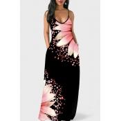 lovely Bohemian V Neck Print Light Pink Maxi Dress