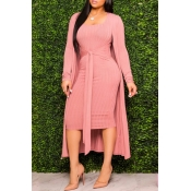 Lovely Casual Lace-up Pink Two-piece Skirt Set