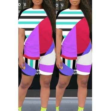 lovely Casual Geometric Print Purple Two-piece Shorts Set