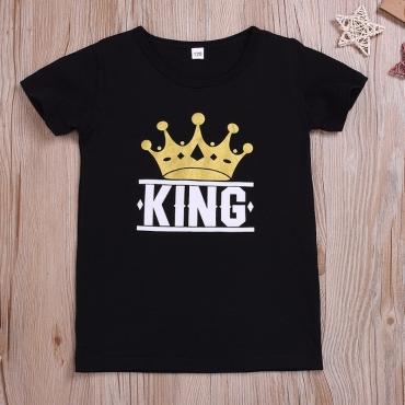 lovely Casual Print Black Boy T-shirt