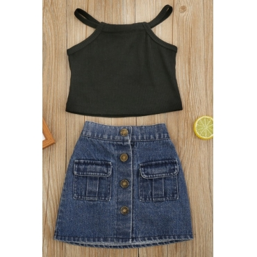 lovely Trendy Buttons Design Black Girl Two-piece Skirt Set