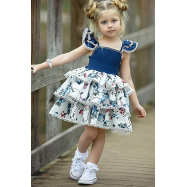 lovely Sweet Patchwork Deep Blue Girl Knee Length Dress