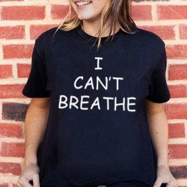 Lovely Leisure O Neck Letter Print Black Plus Size T-shirt