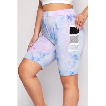 lovely Casual Tie-dye Pocket Blue Plus Size Activewear