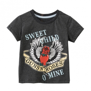 lovely Casual Letter Print Grey Boy T-shirt