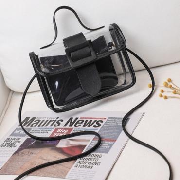 lovely Casual See-through Black Messenger Bag