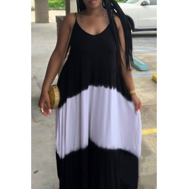 Lovely Casual Spaghetti Strap Patchwork Black Maxi Dress