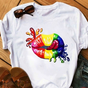lovely Casual O Neck Lip Print Multicolor T-shirt