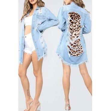 Lovely Trendy Turndown Collar Broken Holes Baby Blue Denim Jacket