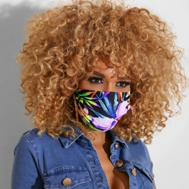 Lovely Casual Plants Print Purple Face Mask
