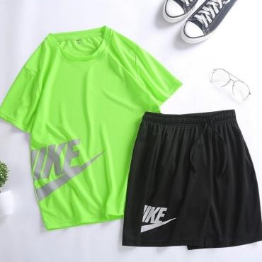 Lovely Sportswear Letter Green Two-piece Shorts Set