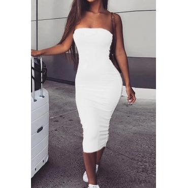 Lovely Trendy Dew Shoulder White Ankle Length Dres