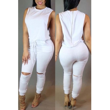 lovely Casual Hollow-out White One-piece Jumpsuit