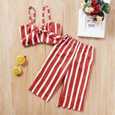 lovely Casual Striped Red Girl Two-piece Pants Set
