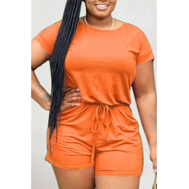 lovely Leisure Lace-up Orange One-piece Romper