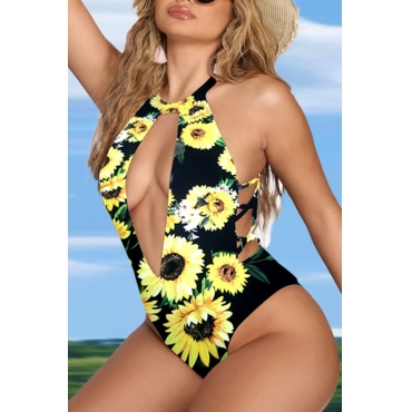 lovely Floral Print White One-piece Swimsuit