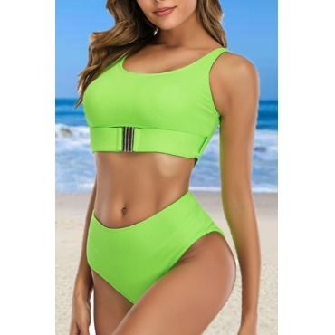 lovely Basic Green One-piece Swimsuit