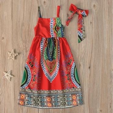 lovely Trendy Spaghetti Strap Print Maxi Girls Dress