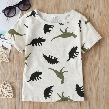 lovely Casual Print Grey Boy T-shirt