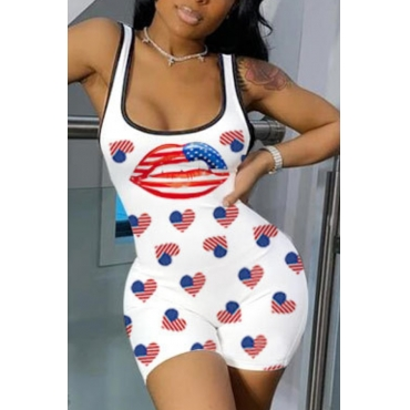Lovely Sexy Lip Print White One-piece Romper