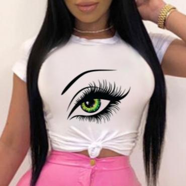Lovely Leisure O Neck Eye Print White T-shirt