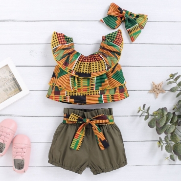 lovely Bohemian Print Multicolor Girl Two-piece Shorts Set