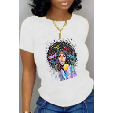 Lovely Leisure O Neck Print White T-shirt
