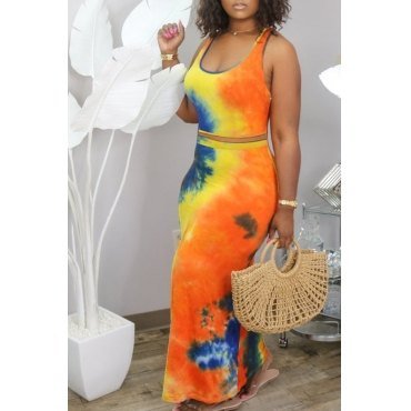 Lovely Trendy Tie Dye Croci Two Piece Skirt Set