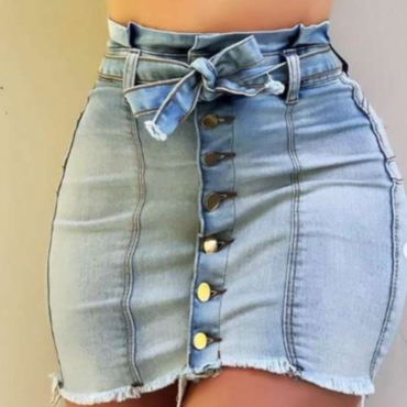 lovely Trendy Buttons Design Baby Blue Denim Skirt