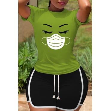 lovely Sportswear O Neck Print Green Two-piece Shorts Set