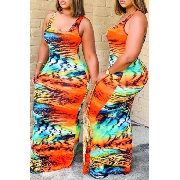 Lovely Bohemian U Neck Print CrociMaxi Dress