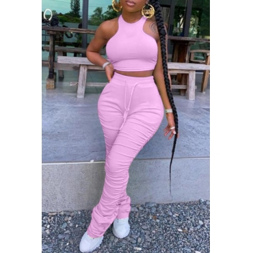 lovely Stylish Fold Design Pink Two-piece Pants Set