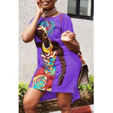 lovely Casual O Neck Print Purple Knee Length Plus Size Dress