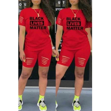 lovely Street Letter Print Red Two-piece Shorts Set