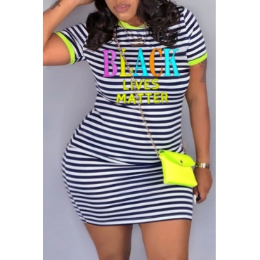 lovely Casual O Neck Striped Print Yellow Mini Plus Size Dress
