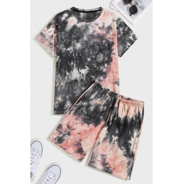 Lovely Casual O Neck Tie-dye Pink Two-piece Shorts Set