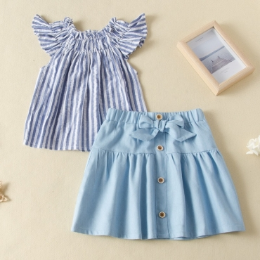 lovely Sweet Striped Baby Blue Girl Two-piece Skirt Set