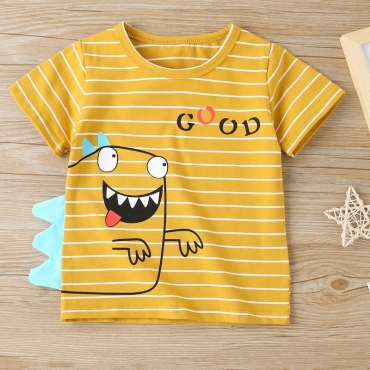 lovely Casual O Neck Letter Print Yellow Boy T-shirt
