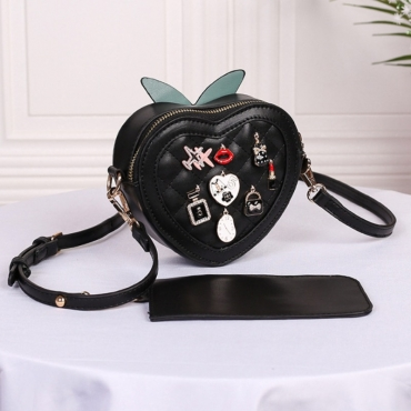 lovely Chic Heart Black Crossbody Bag