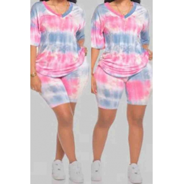 Lovely Casual Tie-dye Pink Plus Size Two-piece Shorts Set