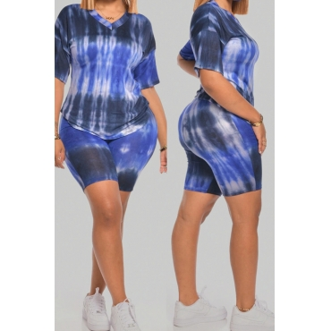 Lovely Casual Tie-dye Deep Blue Plus Size Two-piece Shorts Set