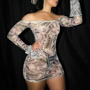 lovely Sexy Dew Shoulder Print Black Mini Dress