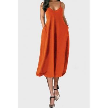 lovely Casual V Neck Pocket Patched JacinthMid Calf Dress