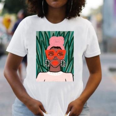 lovely Street O Neck Print White Plus Size T-shirt
