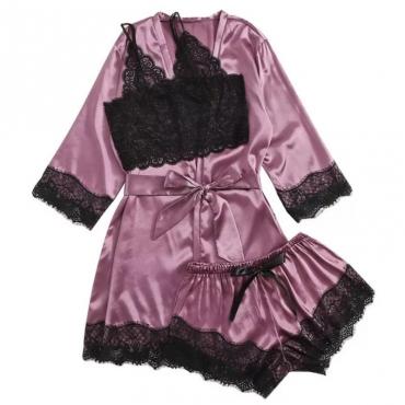 lovely Trendy Lace Hem Modena Sleepwear