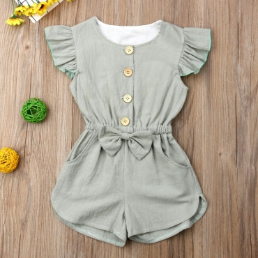 lovely Stylish Buttons Design Green Girl One-piece Romper