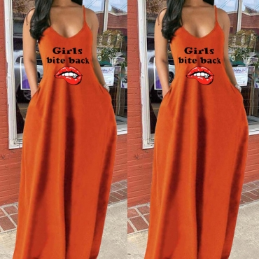 lovely Casual V Neck Lip Print Caramel Color Maxi Dress