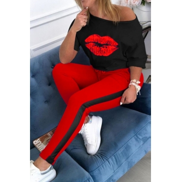lovely Casual Lip Print Red Plus Size Two-piece Pants Set